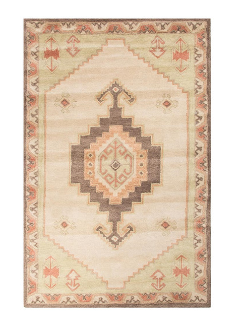 5' x 8' Beige, Brown and Green Hand Tufted Saratoga Wool Area Throw Rug - 32151767