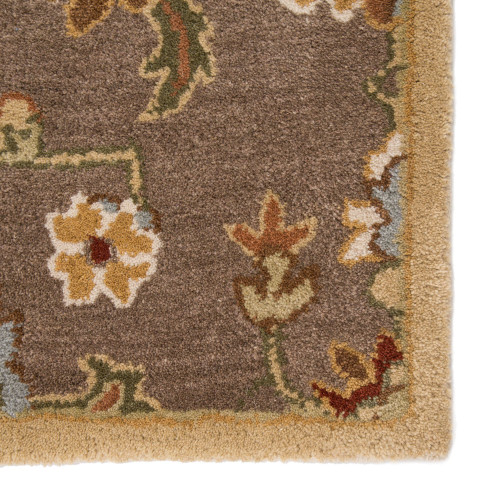 2' x 3' Coffee, Fawn and Blue Gray Nantes Hand Tufted Oriental Pattern Wool Area Throw Rug - 31530339