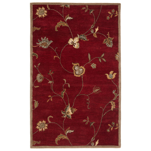 3.5' x 5.5' Red Rose and Sandy Tan Floral Hand-Tufted Wool Area Throw Rug - 31530421
