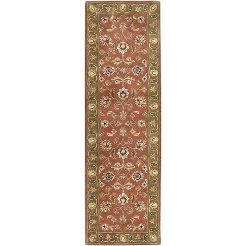 3' x 12' Las Margaritas Green and Raw Sienna Orange Wool Area Runner Throw Rug - 28460334
