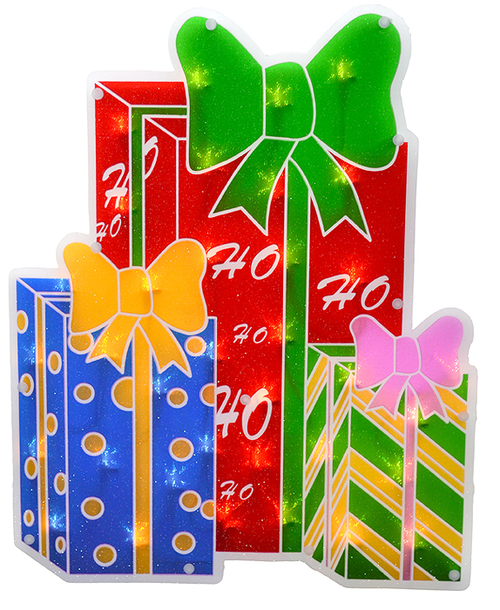 17 lighted double sided shimmering christmas presents window silhouette 30895681 - Lighted Christmas Presents