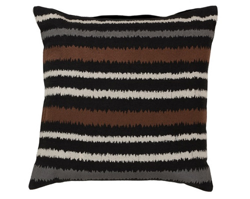 """22"""" Penguin Black, Earth Brown and Cadet Gray Frequency Decorative Square Throw Pillow - 30889831"""