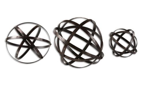 "Set of 3 Dark Bronze Geometric Stetson Sphere Table Top Decorations 7""-9""-12"" - 31495173"