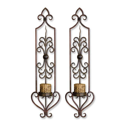 """Pack of 2 Hand Forged Candle Holder Wall Sconces with Antiqued Candles 30"""" - 28265443"""