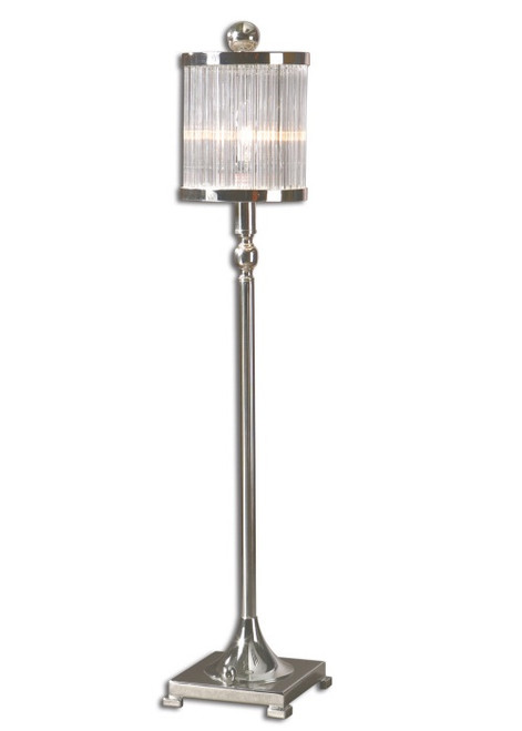 """32"""" Silver Plate with Glass Rods Shade Buffet Table Lamp - 28266646"""