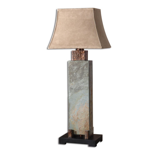 """37"""" Hand Carved Slate and Hammered Copper Indoor/Outdoor Table Lamp - 28266519"""