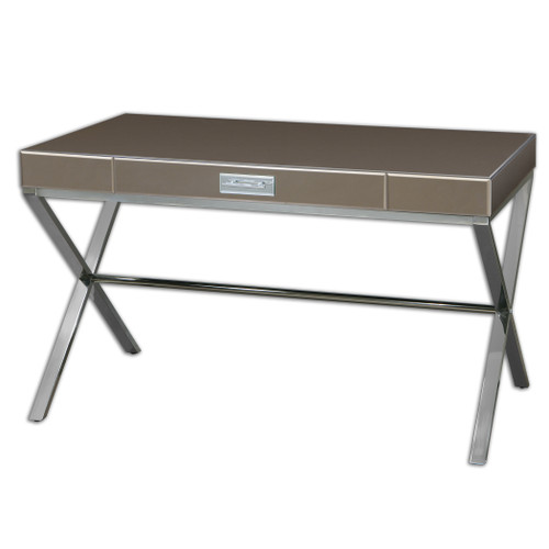 "52"" Dionne Modern Bronze Beveled Mirror & Stainless Steel Writing Desk - 28578890"
