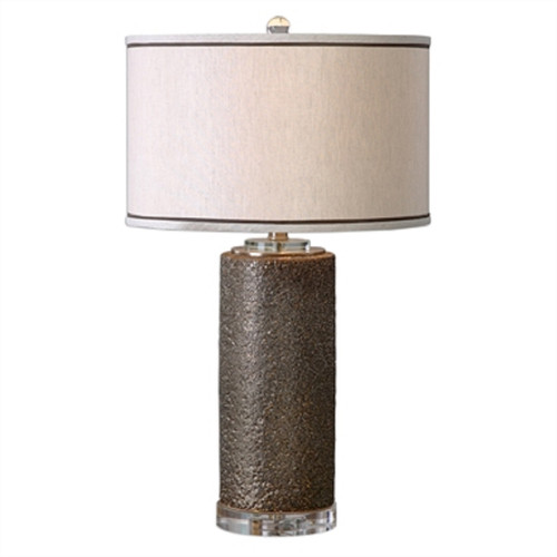 "37"" Varaita Metallic Bronze Textured Ceramic & Taupe Linen Drum Shade Table Lamp - 31800774"