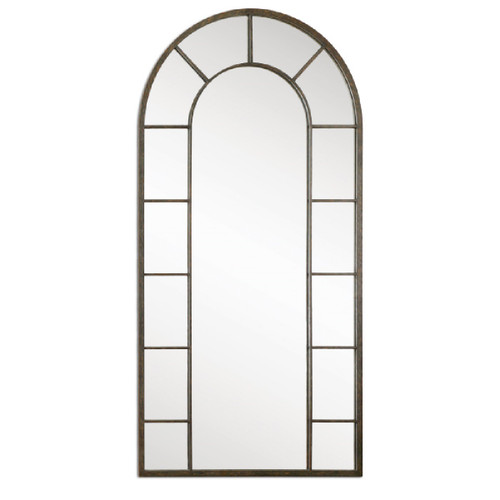 """79"""" Aged Black & Light Rust Brown Metal Framed Beveled Arch Wall Mirror - 28264817"""
