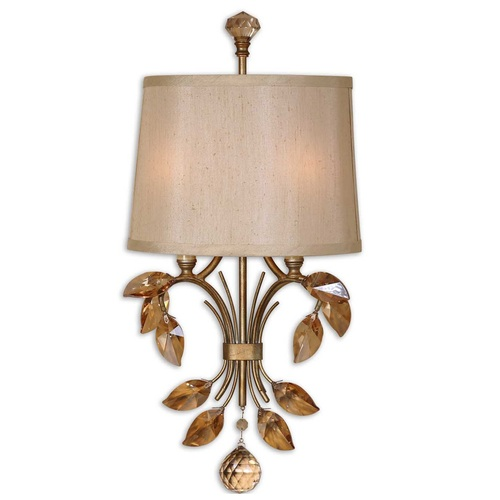 "22"" Burnished Gold, Crystal & Champagne Silk Shade 2-Light Vanity Wall Sconce - 28266009"