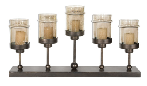 """28"""" Hand Forged Antiqued Bronze Hurricane Candelabra Candle Holder with Candles - 28264959"""