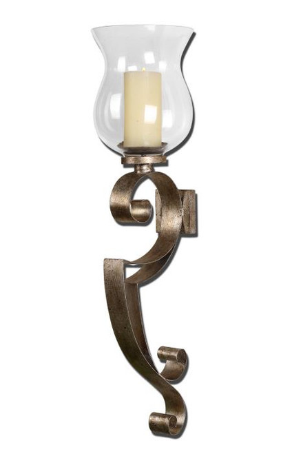 """23"""" Antiqued Silver Champagne Hurricane Candle Holder Wall Sconce with Candle - 28265178"""