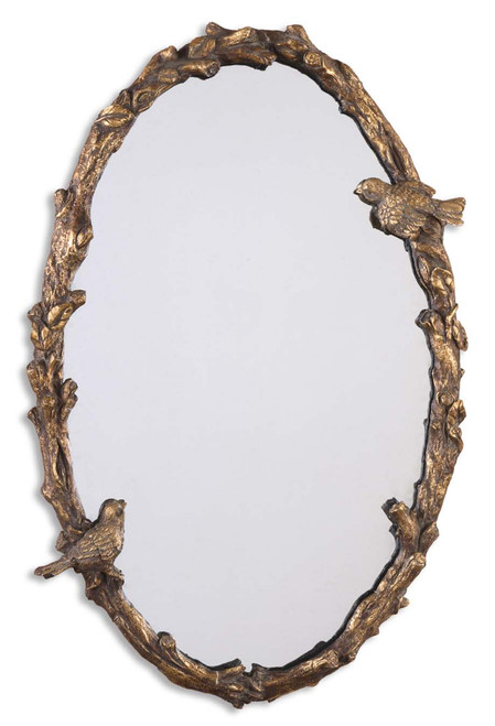 """34"""" Antiqued Gold Leaf & Gray Birds and Vine Framed Oval Wall Mirror - 28266118"""
