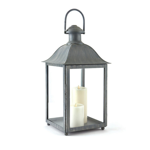 23u201d Distressed Grey Classic Style Decorative Outdoor Candle Lantern    32604856