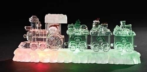 12 Quot Icy Crystal Led Lighted Santa Claus Christmas Train On