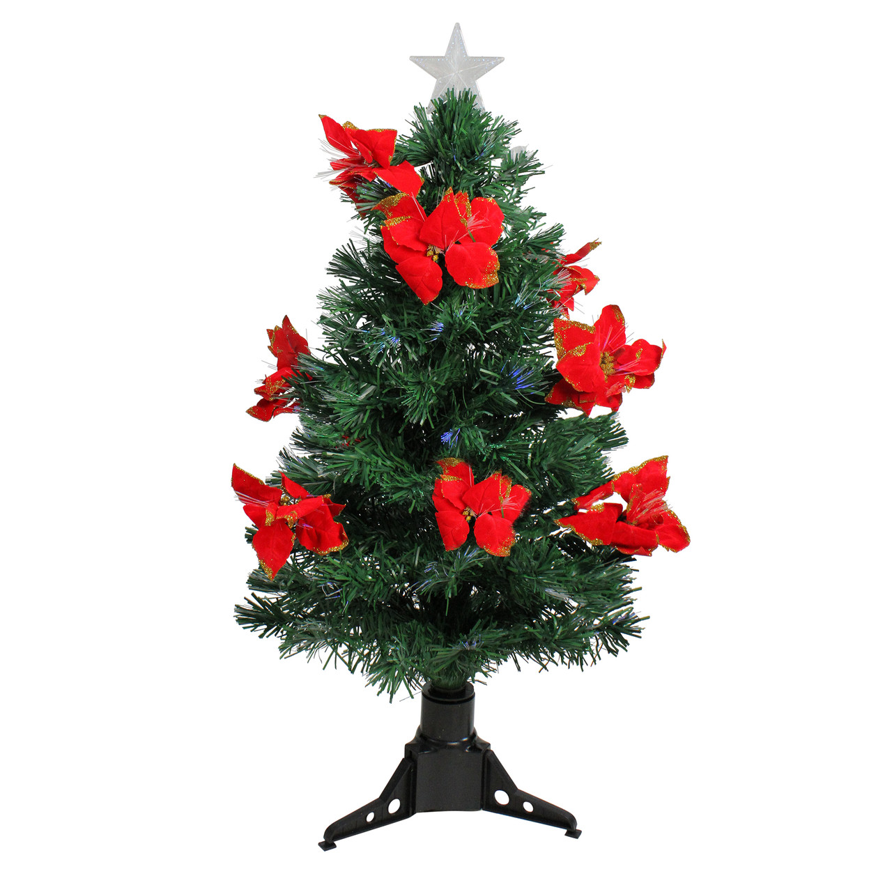 3 Pre Lit Fiber Optic Artificial Christmas Tree With Red