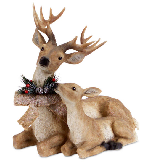 17 Sitting Deer And Fawn With Snow Flocked Burlap Bow