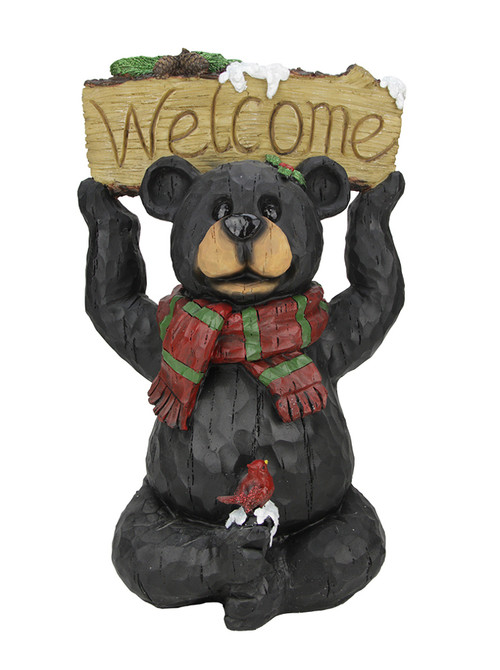 18 Woodland Black Bear With Striped Scarf And Welcome Sign