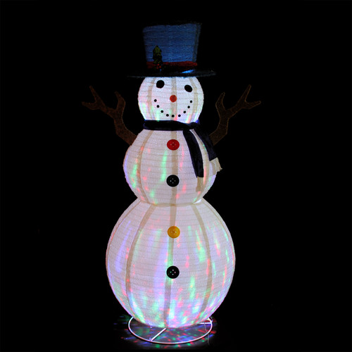 72 Pre-Lit LED Multi-Color Embossed Snowman With Top Hat