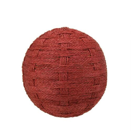 How To Weave A String Basket : Country cabin worn red basket weave string ball