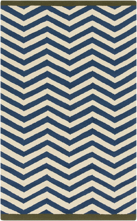 2 X 3 Simply Chevron Cobalt Blue And Beige Hand Hooked