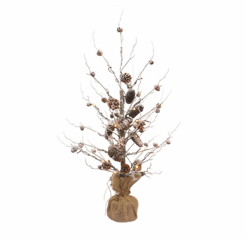 Outdoor White Twig Christmas Tree: 3' Winter Light Pre-Lit Frosted Snowy Pine Cone Artificial