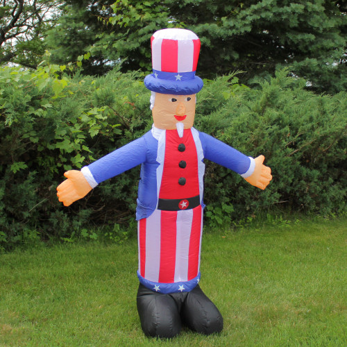 6' Inflatable Lighted Standing Uncle Sam Yard Art
