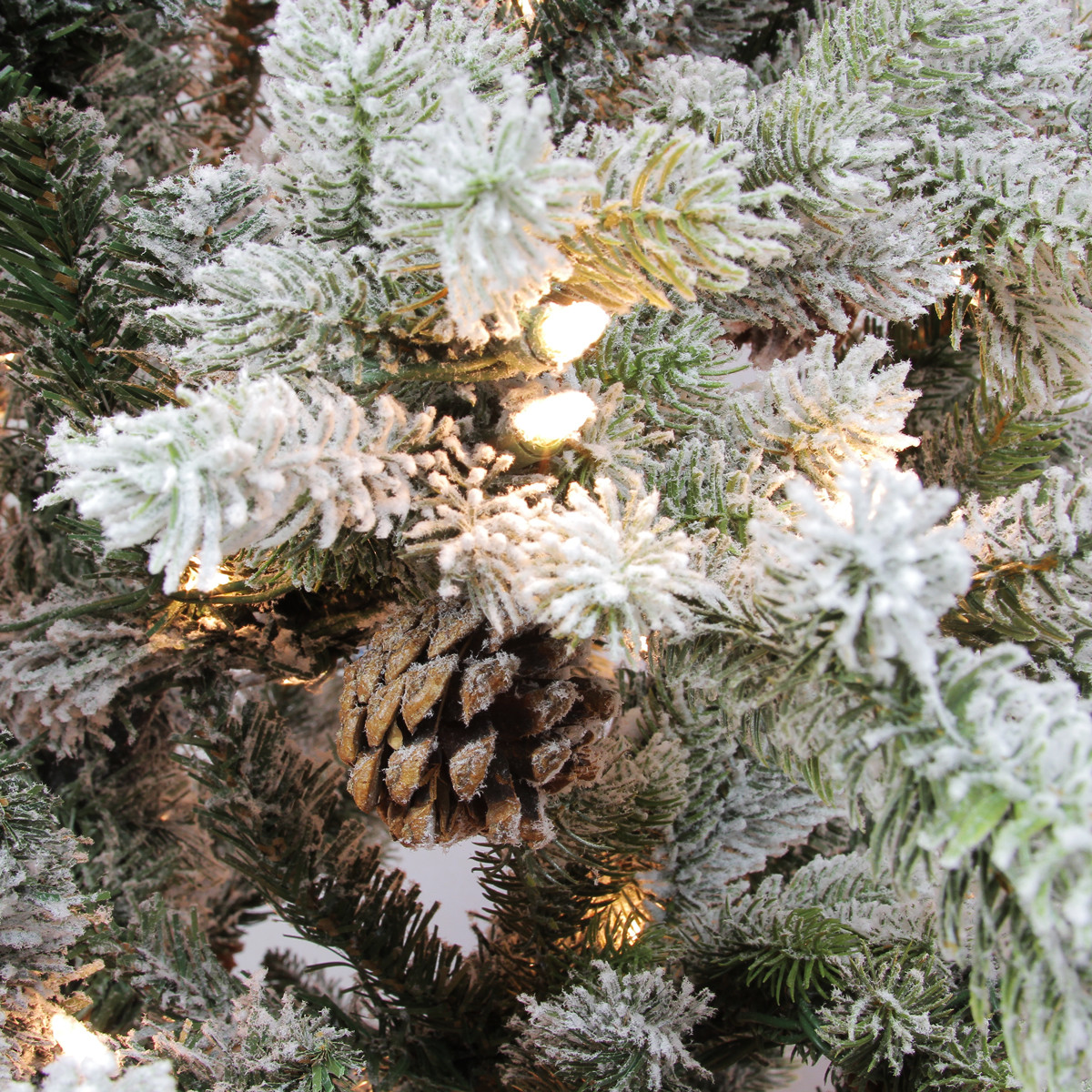 7.5' Pre-Lit Flocked Slim Colorado Spruce Artificial ...
