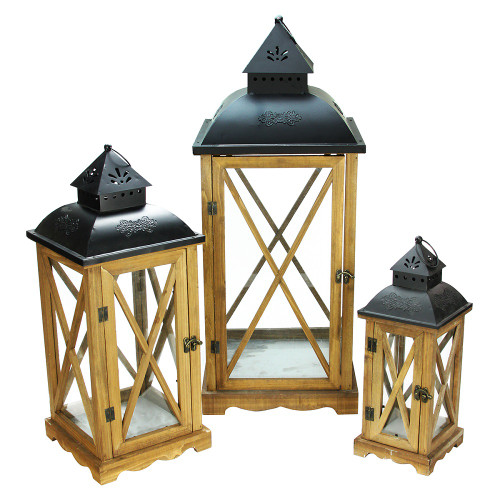 Set Of 3 Country Elegance Wooden Garden Style Glass Pillar