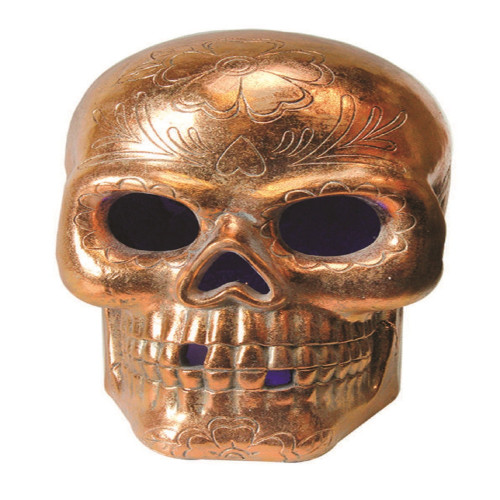 14 Quot Led Lighted Copper Metallic Day Of The Dead Skull