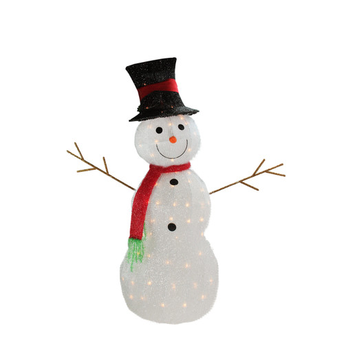 """Lighted Holographic Two Snowman Carolers Christmas Outdoor: 48"""" Lighted 3-D Tinsel Snowman With Top Hat Christmas Yard"""