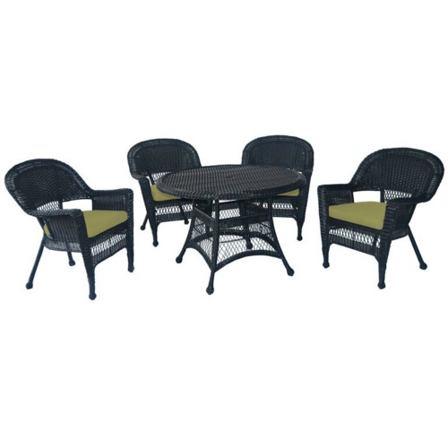 5 Piece Black Resin Wicker Chair U0026 Table Patio Dining Furniture Set   Green  Cushions