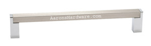 9365-128-BSNPC Cabinet Door Pull In Brushed Satin Nickel Bar and Polished Chrome Legs