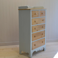Harry's Tall Dresser- blue gray with pine drawers and top