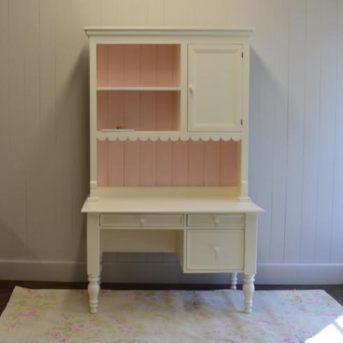 Emma S Cottage Desk With Hutch French White Pink Back Slats