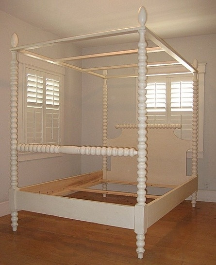 English Farmhouse Spindle Canopy Bed- French White