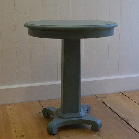 Pedestal Side Table in Faded Teal