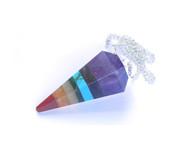 Chakra Stone Bonded 6 Facet Pendulum