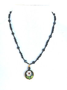 """#BN22 Beautiful Cloisonné Flower Pendant On a light weight and delicate strand of Onyx and Faceted Black Glass Beads  price $50. length 17 1/2"""" Available in custom size to fit your needs for a slight extra charge  Earrings are available in a tiny Faceted Black drop on special order for $25. in Post, Wire, or Clip on"""