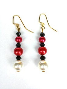 White Pearl with Red and black accents Earrings $25.