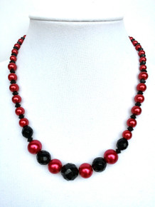 "Black Faceted Austrian Crystal with Red Pearls  $75. 18"" May be custom ordered in preferred size for extra charge. I suggest earring #A57 to compliment this necklace"
