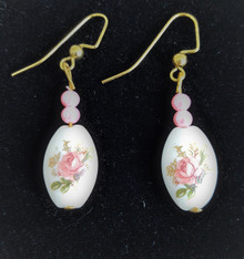 #E67  Lovely Porcelain Earrings with a Flower Design, Pink accent beads $25.