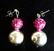 #A23 Unusual Earrings with Speckled Raspberry Pattern and Large Bright Round Silver Ball Price $25.   All Earrings are available in Post, Wire, or Clip on