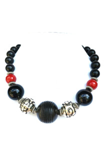 "# BN43 Dramatic Chunky Choker with  Carved Black Centerpiece with Etched Silver Beads and Red and Black Accents $125.  18""  May be custom ordered in preferred size for an additional charge  I suggest Etched Earring #A68 to compliment this necklace"