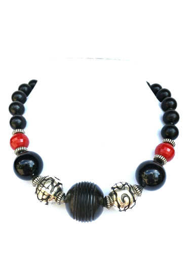 """# BN43 Dramatic Chunky Choker with  Carved Black Centerpiece with Etched Silver Beads and Red and Black Accents $125.  18""""  May be custom ordered in preferred size for an additional charge  I suggest Etched Earring #A68 to compliment this necklace"""