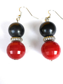 Faceted Red, Etched Silver, Black Earring $25.
