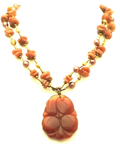 """Semi-Precious Carved Chinese Jasper Pendant on a double strand of South Sea Pearls and Jasper 18"""" long $165."""