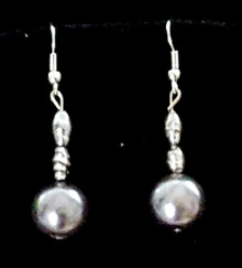#A19 Large Lustrous Gray Pearl with Asian Pearl Accents $25. Available in wire, post or clip on