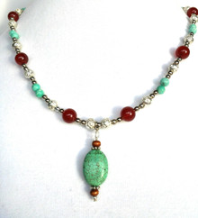 """#BN47 One of a kind Unique Vintage Chinese Turquoise pendant with  Etched Silver and Jasper 18"""" long  $95."""