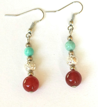 #A86 hand made semi-Precious Dark Carnelian drops with delicate Etched Silver and beautiful semi precious Chinese Turquoise  Price  $35.Available in clip on, wire, or post